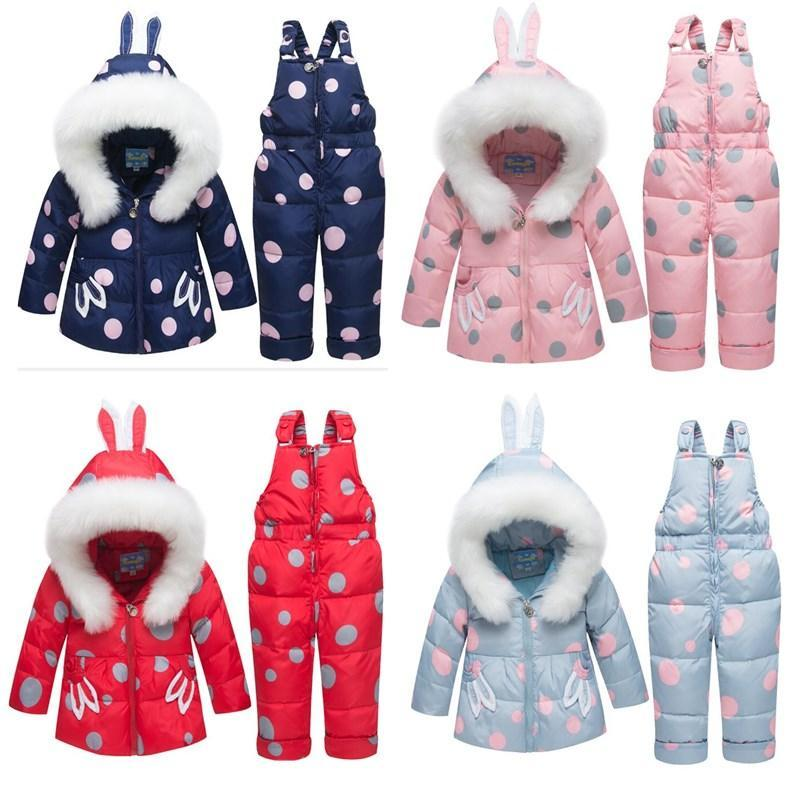 2019 bébé vers le bas Veste Set bébé d'hiver Habits de neige courtes Boysgirls doudounes enfants Salopette d'hiver enfants Habits de neige