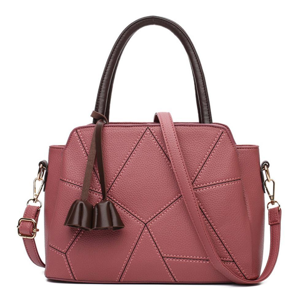 New Stylish PU Leather bags Top Handle Satchel with Pendant Stitching Lichee Pattern Shoulder Bag Handbag for Women ZK30