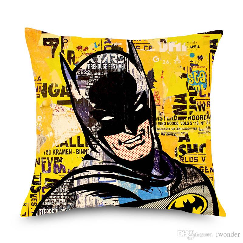 Vintage POP Art Justice League Superman Wonder Woman Cushion Covers Beige Linen Pillow Covers 45X45cm Sofa Chair Decoration