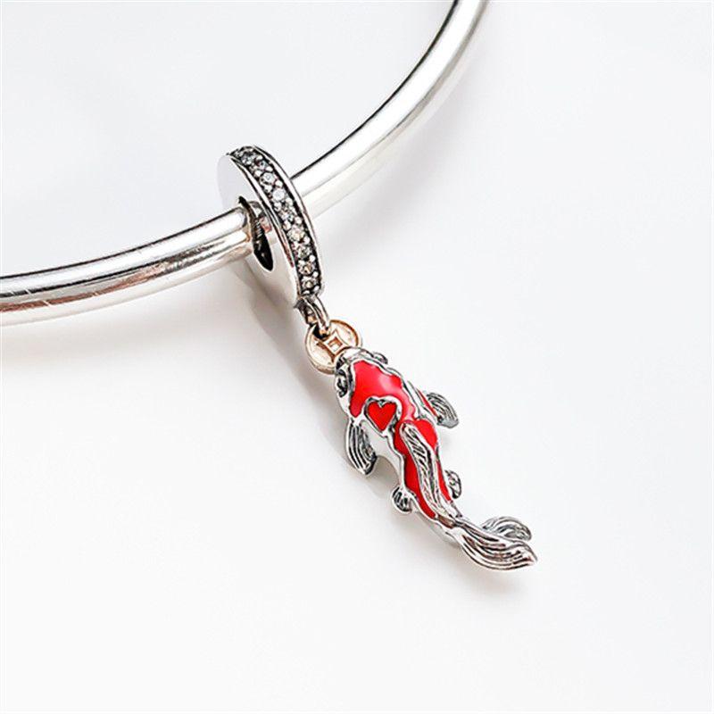 Nouveau 100% 925 Sterling Sterling Enamel Rouge Poisson Charme Perle Convient aux Pendentifs Colliers Pendentifs Colliers
