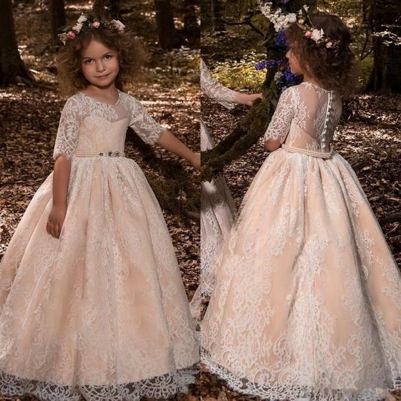Mezza manica Abiti da sposa formale principessa dell'annata 2019 Sheer collo Appliques del merletto con il telaio lunga bimbi