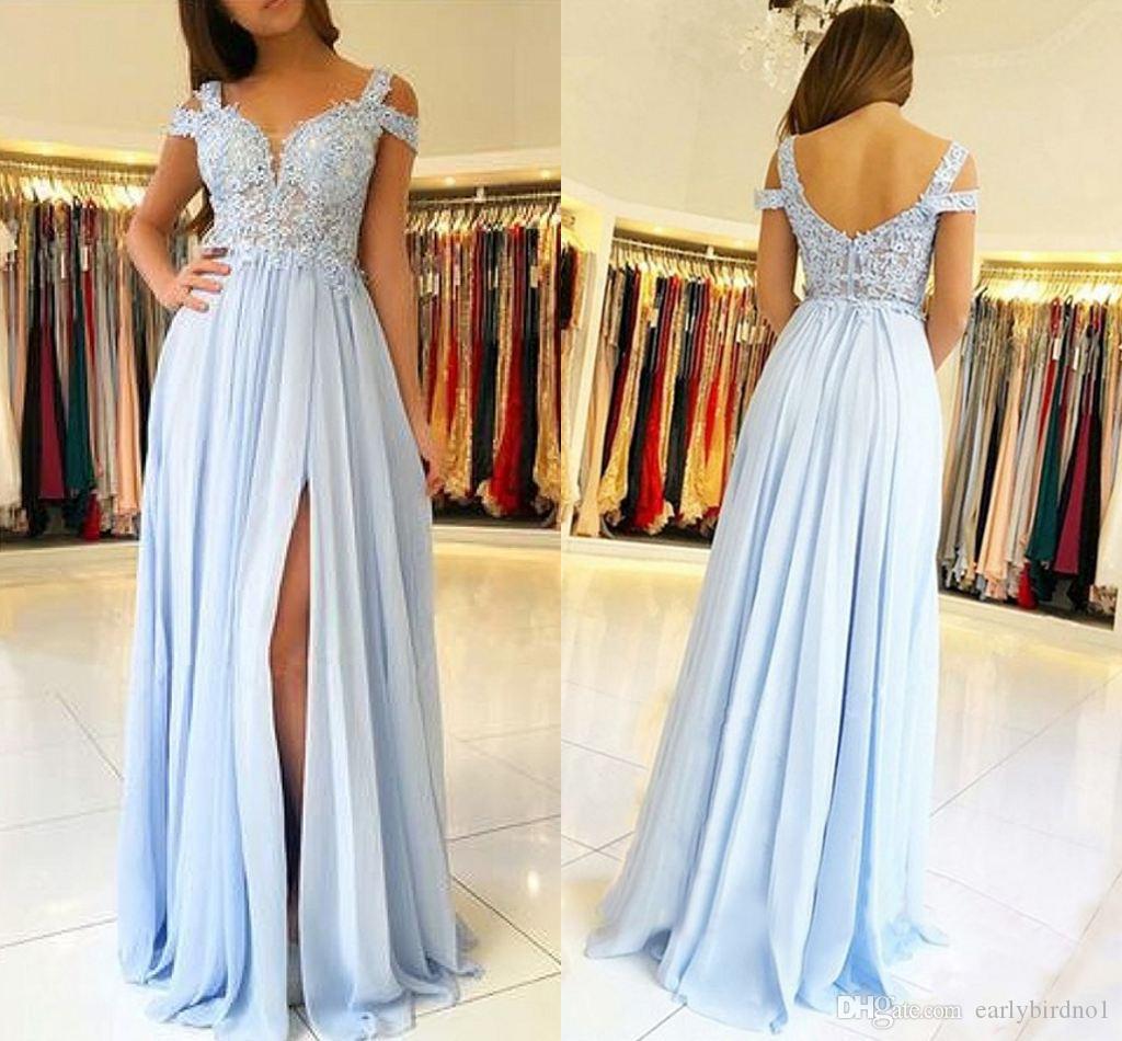 2020 azul bebé barato de encaje apliques una línea de vestido de dama de gasa Elehant lateral de Split huésped de la boda del vestido más el tamaño de vestido de fiesta del partido de tarde