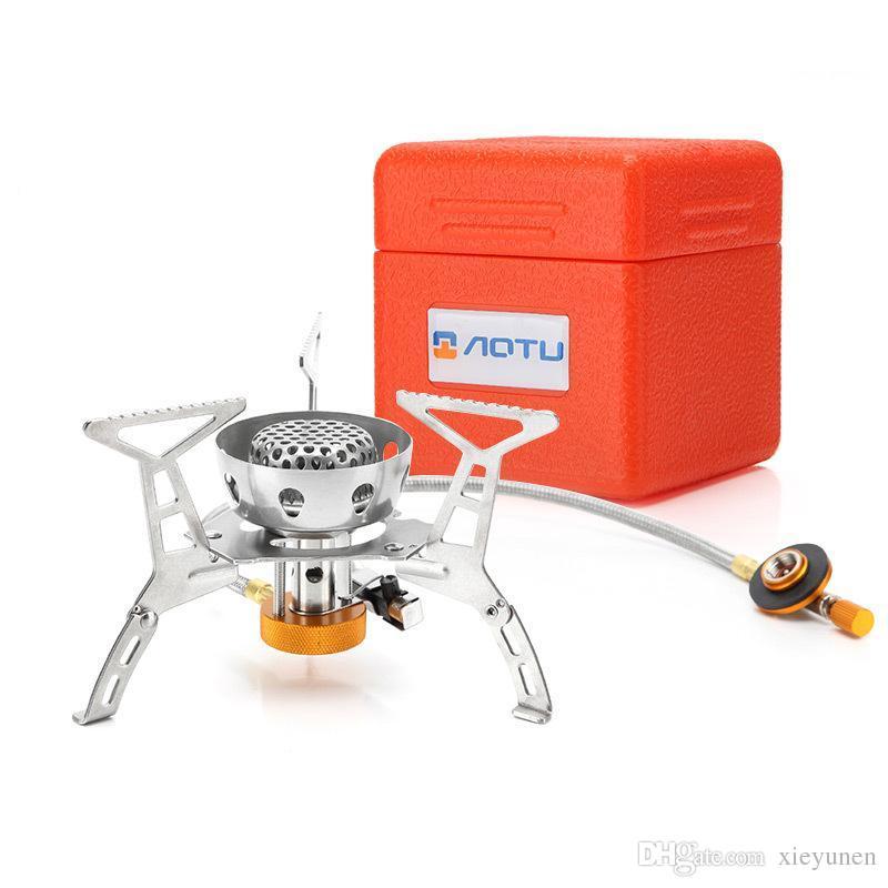 AT6309-B кемпинг с электронным зажиганием Ветрозащитная нержавеющая сталь Газовая плита Уличная плита Мощность: 3200 Вт