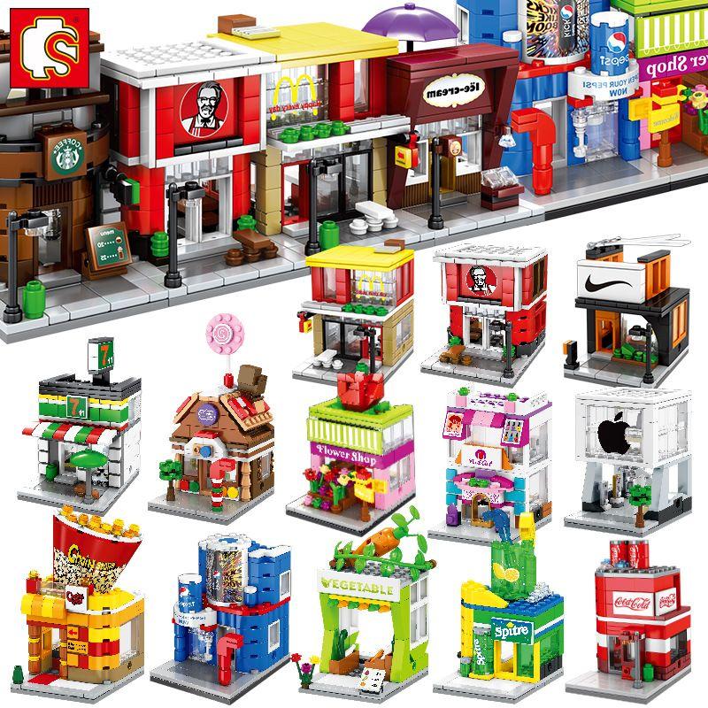 SEMBO Mini Street Store Building Blocks Cute Micro Shop Model Ice Cream Educational Kids toys Bricks Children Gifts
