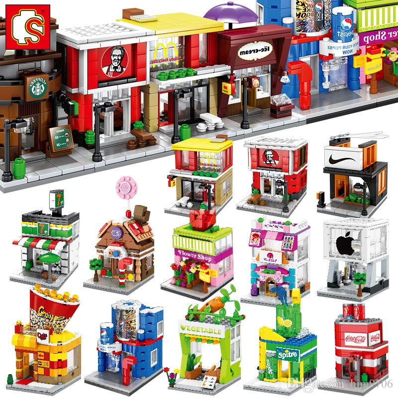 SEMBO Mini Street Store Building Blocks Cute Micro Shop Model Ice Cream Educational Kids toys Bricks Children Gifts