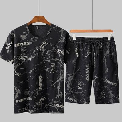 Man's Summer Tracksuit Quick-drying Shorts Male Tide Short-sleeved T-shirt Two Pieces Increase Summer Sportswear Loose Short-sleeved Suit