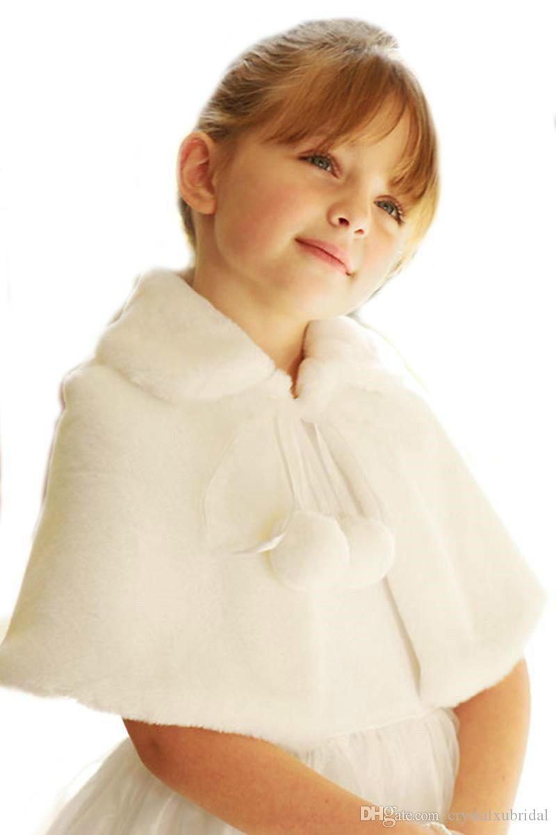New Wedding Cloaks Turn down Collar Flowers Girls Cape Cheap Custom Christmas White Ivory Faux Fur Winter Short Wedding Shawl Jacket Wraps