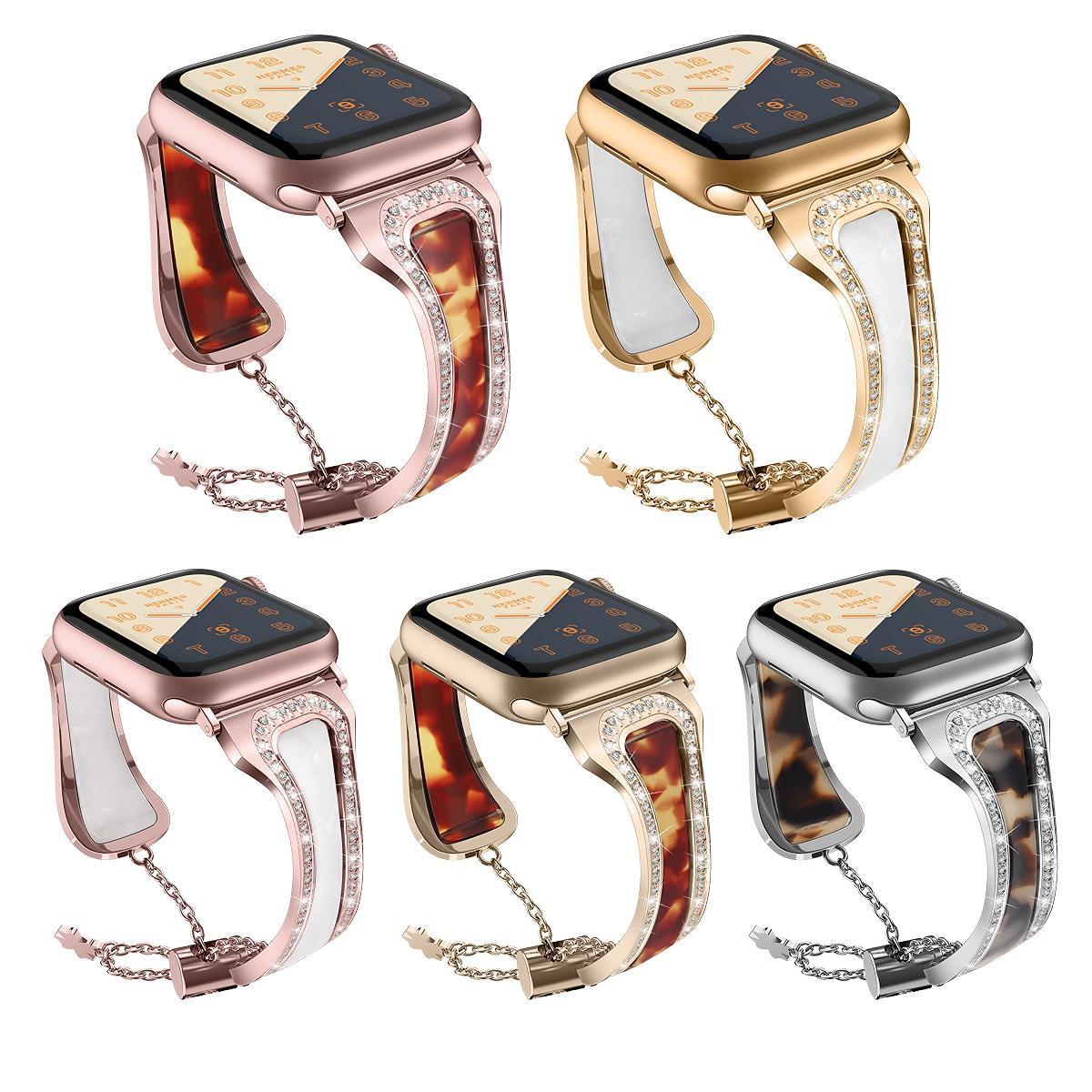 IWatch Band 38mm için Uyumlu 42mm Elmas Rhinestone Ayna Yedek Kayış Bilezik Bileklik Apple Watch SE / 6/5/4/3 82015