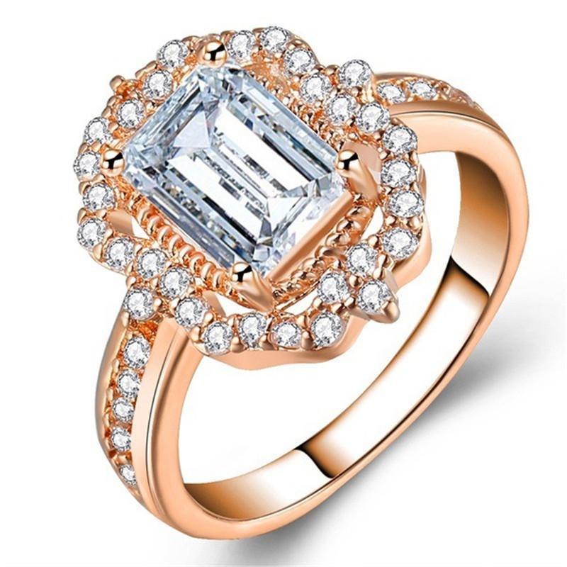 Desgin dell'anello di modo grande piazza Cancella anelli di pietra per regalo di fidanzamento dei monili delle donne di nozze di lusso Rosegold pietra intarsiato Anelli