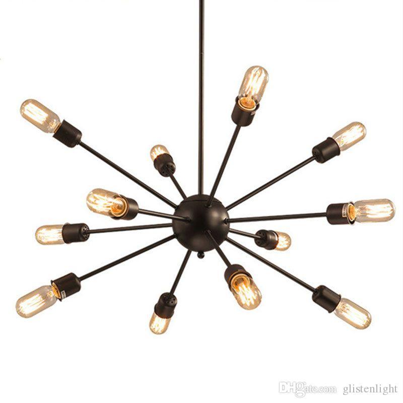 ثريات الأقمار الصناعية خمر قلادة ضوء الحديد المطاوع كروية العنكبوت مصباح E27 اديسون قلادة الإضاءة بار القهوة الإضاءة