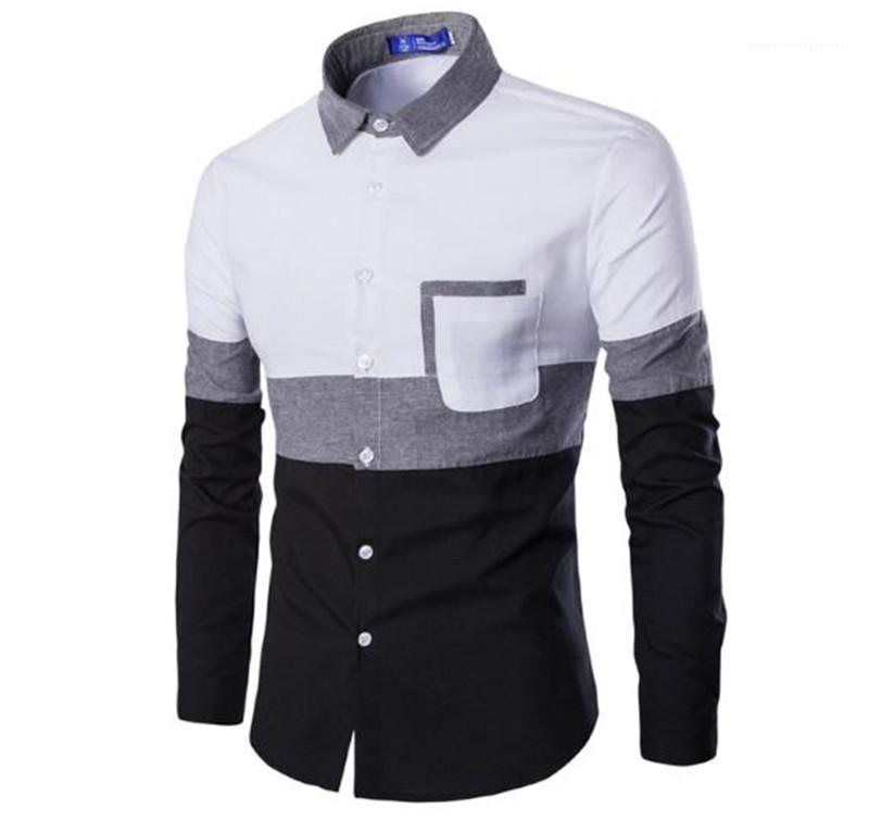 Camisas de moda Patchwork Color Diseñador Camisas Para Hombre Cuello de Solapa de Manga Larga Para Hombre Camisas Casuales Primavera Flaco Adolescente