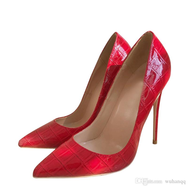 Kırmızı Kadınlar Yüksek Topuk 12 cm Stilettos Düğün Valentine Marka Tasarımcı Ayakkabı Rugan Sivri Burun