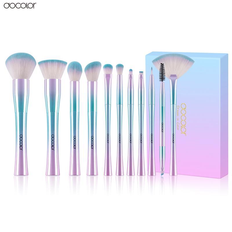 Docolor 11PCS Makeup Brushes مجموعة أفضل هدية عيد الميلاد مؤسسة عينيه المكياج فرش مستحضرات التجميل الشعر الاصطناعية الناعمة