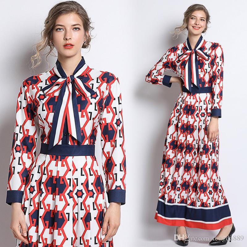İlkbahar Yaz Sonbahar Pist Vintage Çiçek Tie Yaka Uzun Kollu İmparatorluğu Bel Kadınlar Bayanlar Casual Taraf A-Line Maxi Elbise yazdır