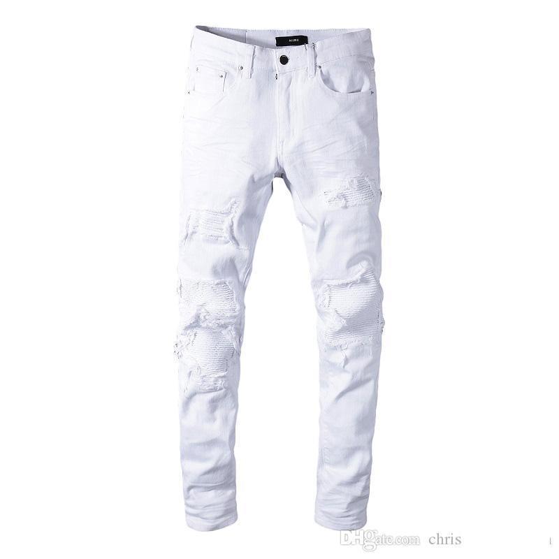 Compre Clasico Miri Wholesale Pantalones Blancos 350 Pantalones De Disenador Pantalones Rectos Biker Flaco Escapatoria Jeans Hombres Mujeres Pantalones Rotos A 45 23 Del Luckstores Dhgate Com