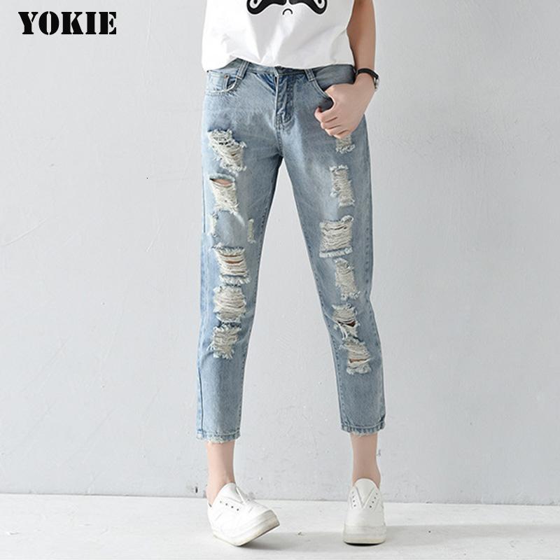 Plus size 25-32 Loch zerrissene Jeans Frauenhosen lose knöchellangen Hosen Boyfriends Für Frau Damen Röhrenjeans CJ191205 Harem
