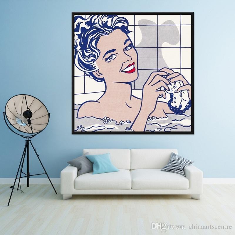 Virginie. Decores / HD Imprimer Roy Lichtenstein Art populaire Repro de bain Fille abstraite Peinture à l'huile sur toile Wall Art Home Déco Haute Quality201
