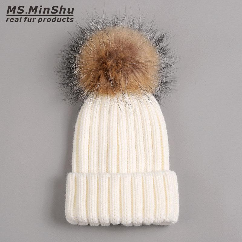Thicken Winter Adult Hat with Real Fur Pompom Raccoon  Fur Ball Cap Women Hat with Big Ball Unisex Pompom Top