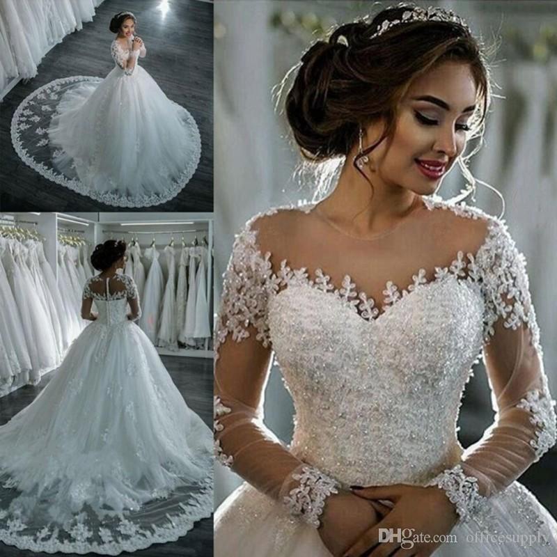 vestidos de noiva 2020 우아한 라인 긴 소매 웨딩 드레스 얇은 명주 얇은 공주 레이스 웨딩 가운 가운 가운 드 마리에