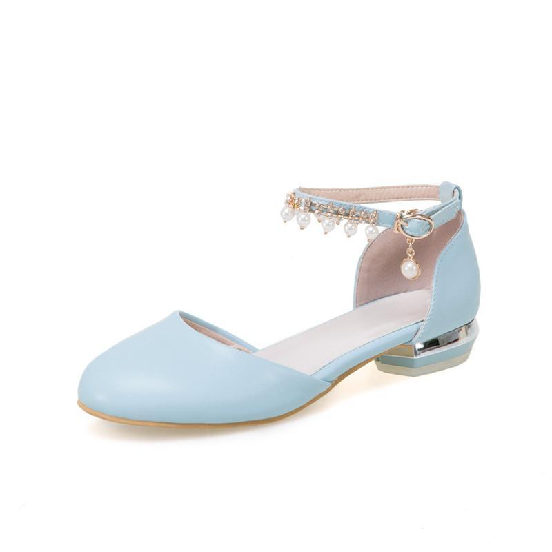 Лето 2019 Сладкая Лолита Женская обувь коренастый пятки Кристалл бисера кисточкой партии низкий каблук насосы Женщина смазливая обувь Плюс Размер
