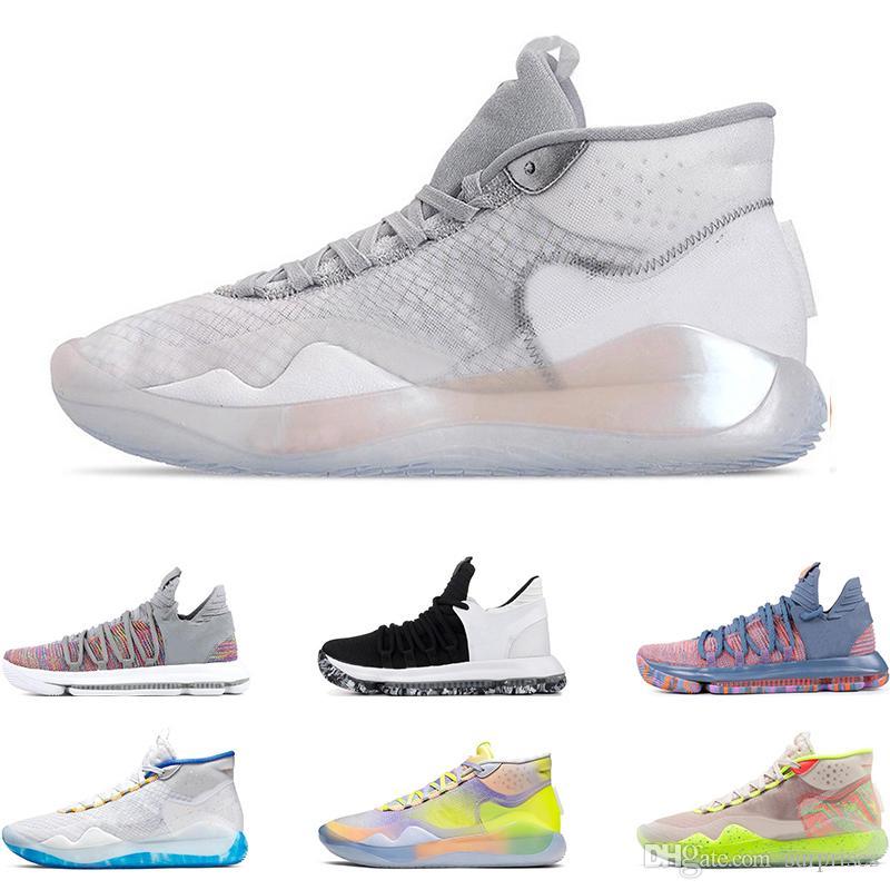 Yeni erkek basketbol ayakkabı KD 10 12 EYBL 90 S ÇOCUK GÜNCELLER EV Kurt Gri ÜNİVERSİTE KıRMıZı FİNALLAR spor sneakers eğitmenler boyutu 7-12