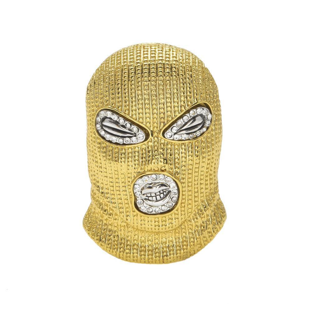 Jóias de hip hop CSGO Pingente Colares Mens Punk 18 K Liga de Prata Banhado A Ouro Máscara Cabeça Charme Cubano Elo Da Cadeia Colar