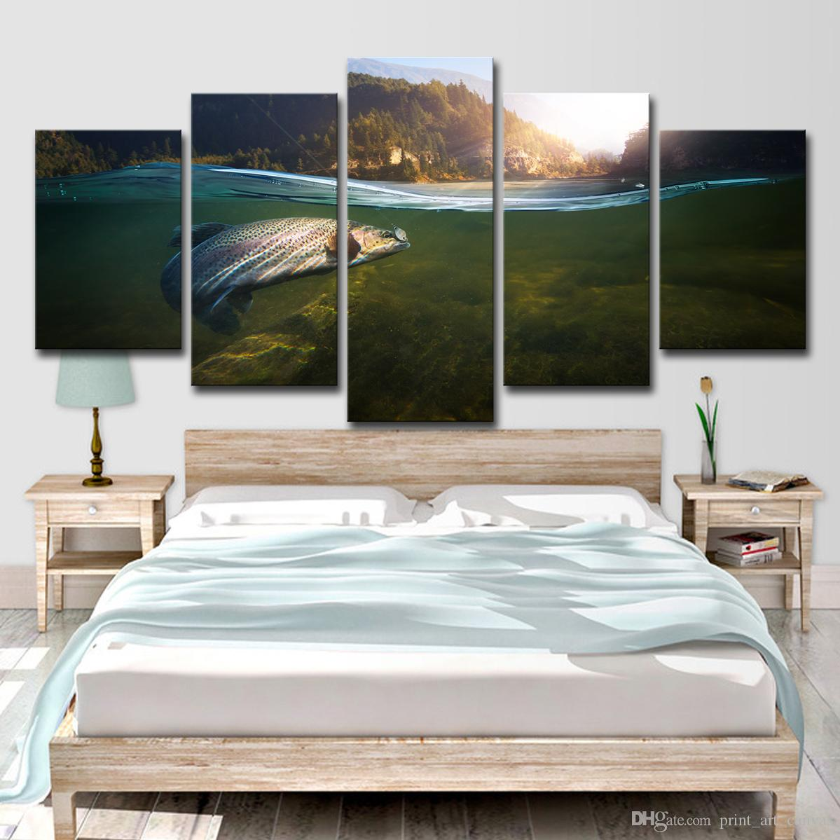 HD Printed 5 Piece Canvas Art Fishing In River Hooked Painting Wall Pictures for Living Room Modern Free Shipping