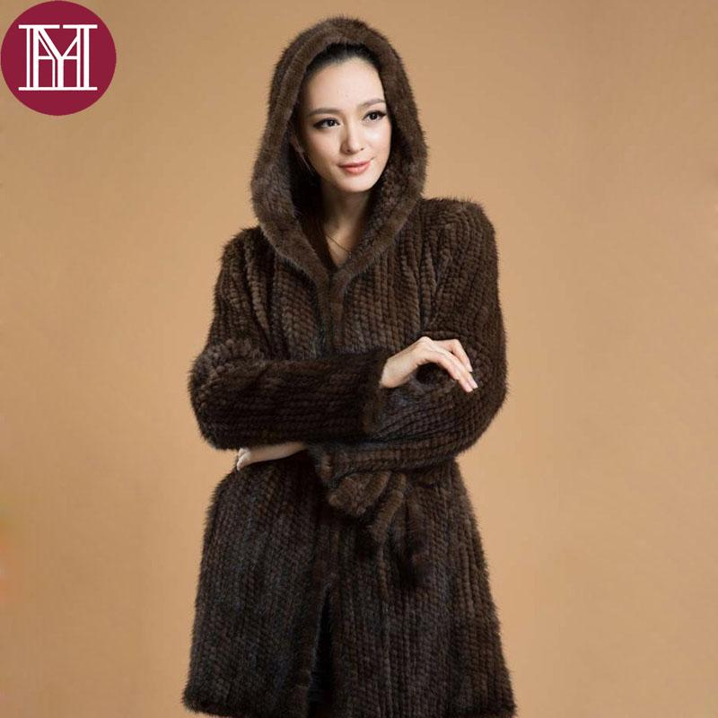 Elegant women winter knitted real jacket with hooded female 100% natural outerwear long style coat