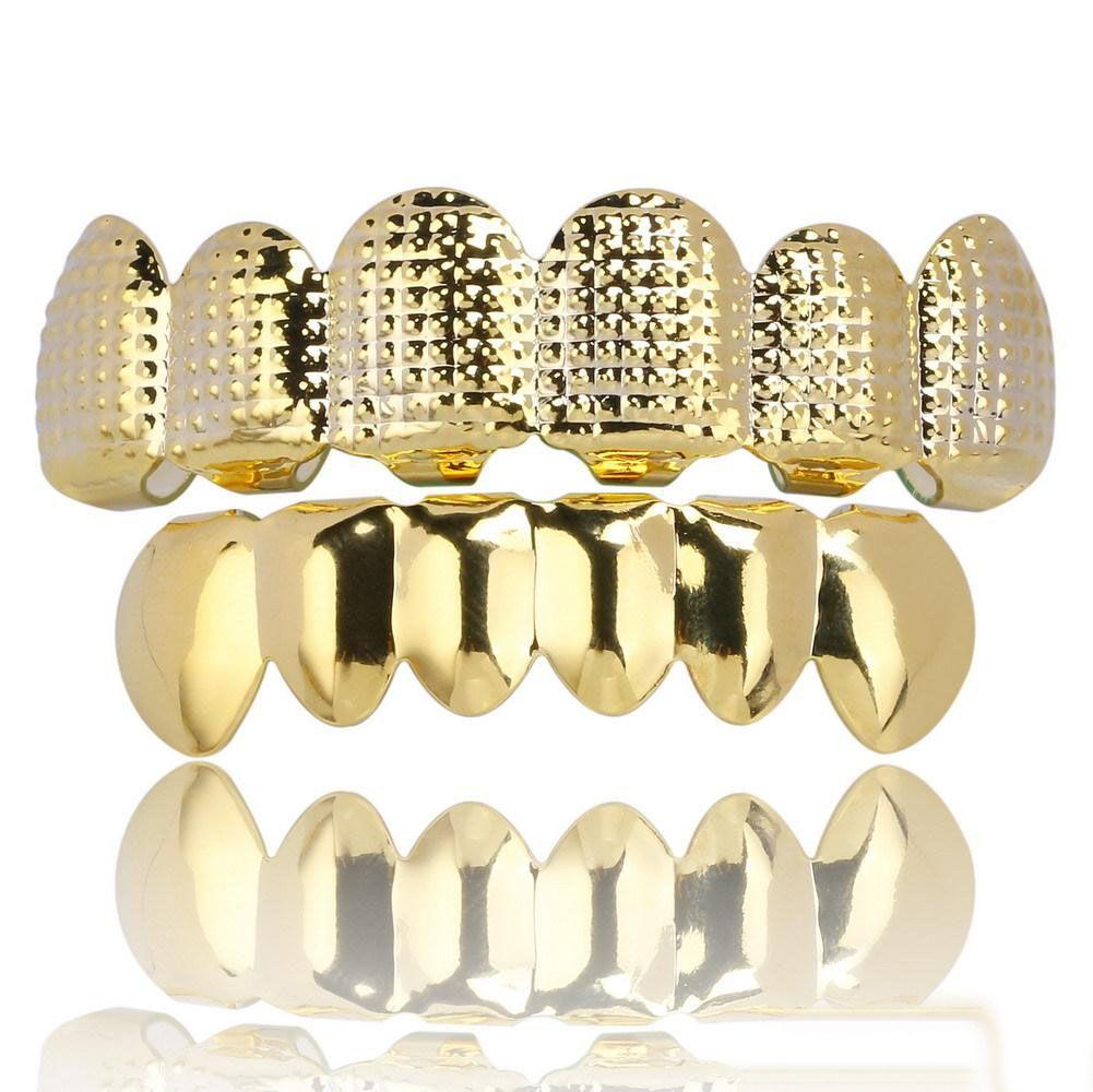Панк Хип-хоп Зубы Grillz 6 Сверху Снизу Зубы Золото Серебро Цвет Ложные зубы Grillz Set Bump Lattice Стоматологическая Грили