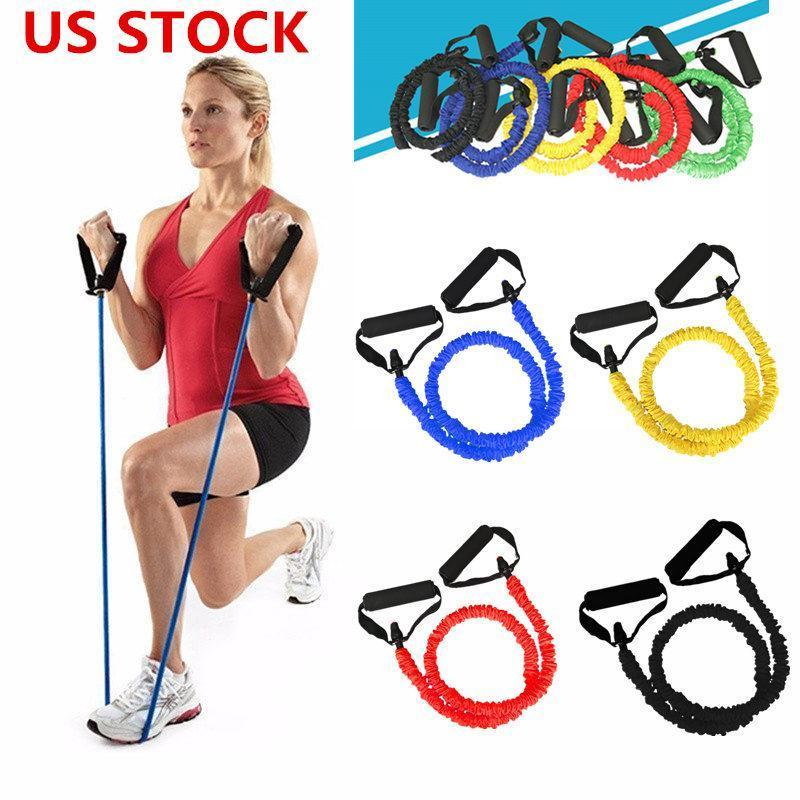 US STOCK, Elastic Resistance Bands Yoga Pull Rope Fitness Pilates Workout Sport Rubber Tensile Expander Gym Equipment Band FY7053