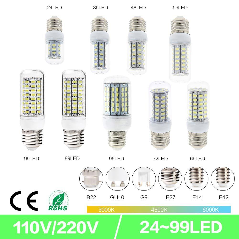 SMD5730 E27 GU10 B22 E14 G9 LED lamp 7W 12W 15W 18W 220V 110V 360 angle SMD LED Bulb Led Corn light