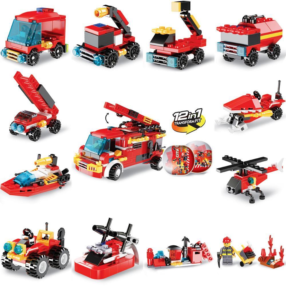 blocchi di camion dei pompieri da costruzione, uova tortuose, l'illuminazione intellettuale dei bambini, assemblaggio piccoli granelli di blocchi di costruzione giocattoli come regali