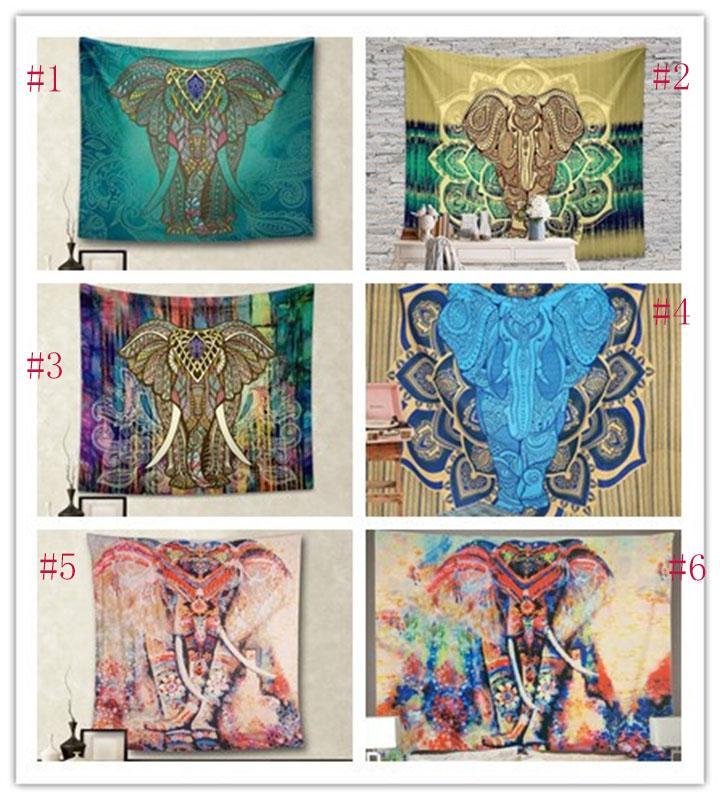 150 * 130 centímetros Novas Tapeçarias Bohemian Mandala Praia Tapestry Hippie Lance Mat Yoga Elefante de toalha de poliéster Xaile Toalha de banho W95955