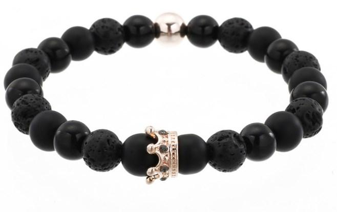 8mm gh424 gold silver Micro pave cz zircon cubic zirconia bracelete Ajustado de coroa vulcânica preta de lava Onyx Crown Bangles