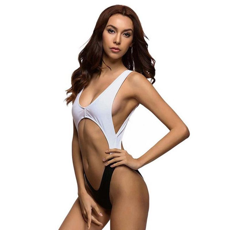 Verano de las mujeres atractivas de la manera personalizada del bikini traje de baño de una pieza halter abierto ahuecado Set de baño