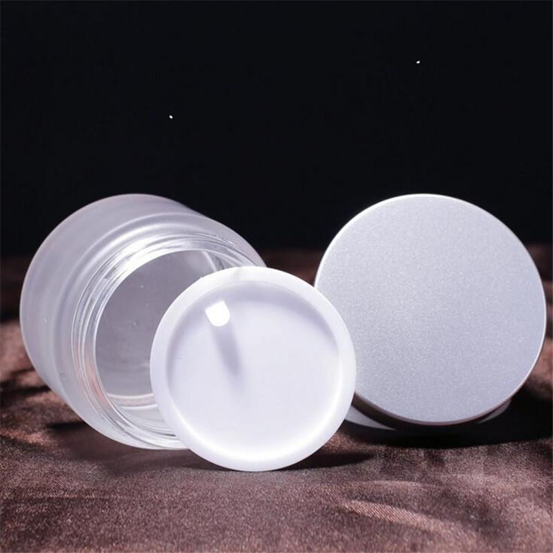 جرة 30G متجمد الزجاج مستحضرات التجميل كريم الوجه الخالي بلسم الشفاه تخزين الحاويات إعادة الملء زجاجة عينة مع فضة أغطية 30ML YTH163630