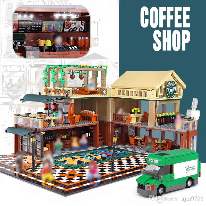 IN STOCK SEMBO 601093 2095Pcs فكرة المدينة شارع عرض مع الصمام الخفيفة عارضة بيت القهوة بناء كتل الطوب ألعاب تركيب هدايا