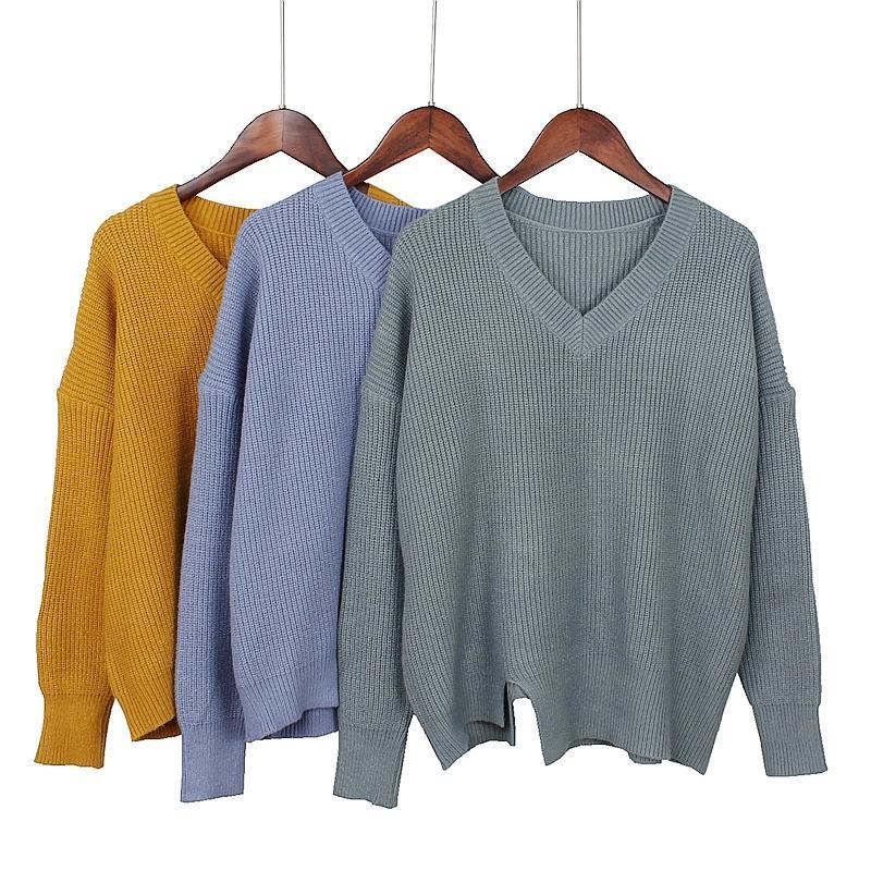 GIGOGOU Grosso Solto Mulheres Casuais Pulôver Com Decote Em V Grosso Outwear De Malha Top Big Size Feminino Camisola Quente