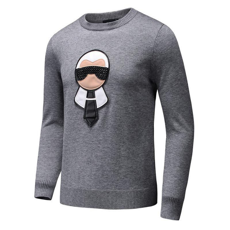 Neue 2017 Mann Luxus Winter-Hot Diamantbohrungen bestickt beiläufige Pullover Pullover asiatischen Plug Größe Hochwertige # E129
