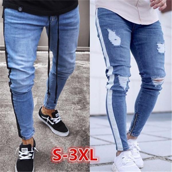 Joelho rasgado Zipper Pants Nova Europa E América pequeno Leg Zipper Jeans Tendência dos homens rasgado Estilo Hot Jeans