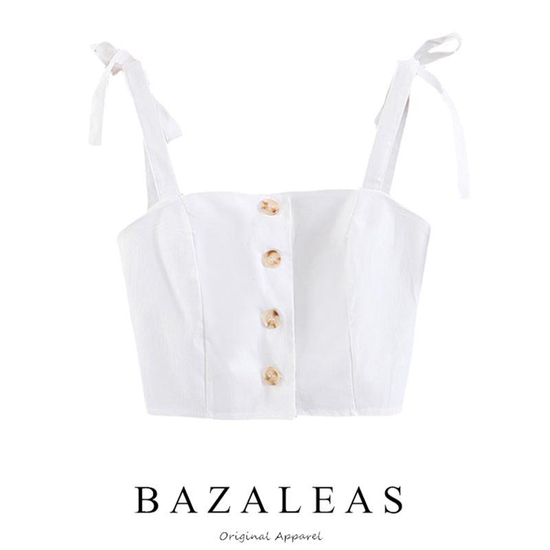 Bazaleas Vintage Center Buttons Algodón recortado Mujeres básicas Tops Moda Ajustar Correa mujeres camisola envío de la gota