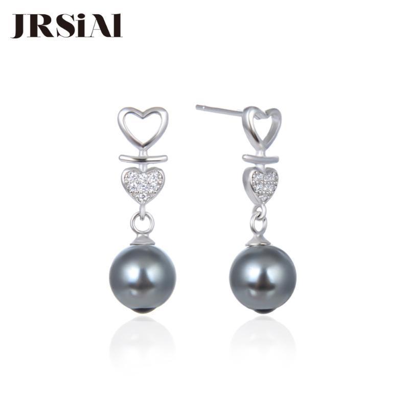 Presente de prata Sterling água doce brincos de pérola coreano brincos amor Beads Namorados JRSIAL 925