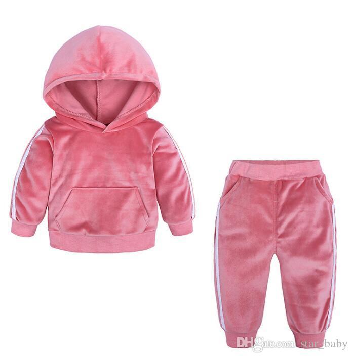 New Kids Girls Velour Velvet Hooded Long Sleeve Loungewear 2PCS Tracksuit Set