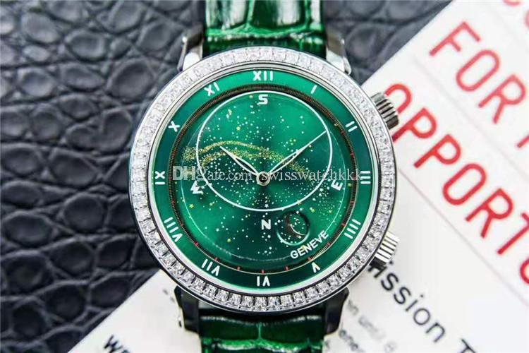 Complicaciones Cielo celeste luna 5102G Reloj de lujo para hombre de acero inoxidable del reloj del diamante verde marcado Suiza 240 LU automático Sapphire
