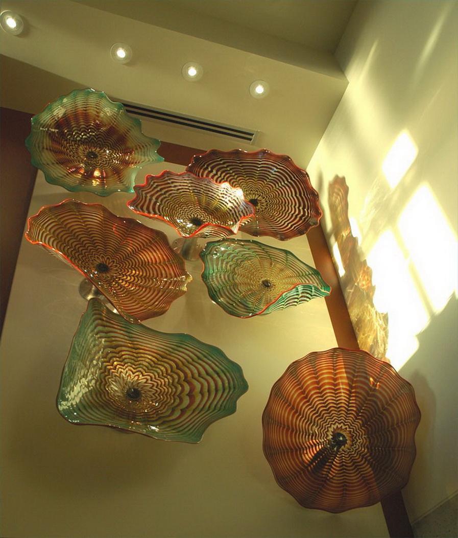 Роскошные Цветочные Тарелки Стиль Чихули Ручной Работы Муранские Стеклянные Настенные Тарелки Коричневый Цвет Декоративная Стеклянная Пластина Настенное Искусство