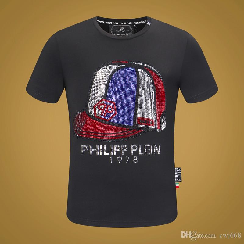 Diseño de la camiseta de los hombres de verano de diseño de moda de los hombres de la calle de la ropa de sport camiseta del diseño del remache Mezcla de algodón cuello redondo manga corta