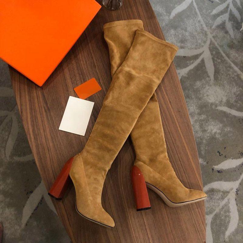 Hot venda- marca de moda das mulheres ao longo dos carregadores joelho Martin Ladies Chunky salto alto 10CM dedos apontados 22 polegadas Sapatinho estiramento camurça