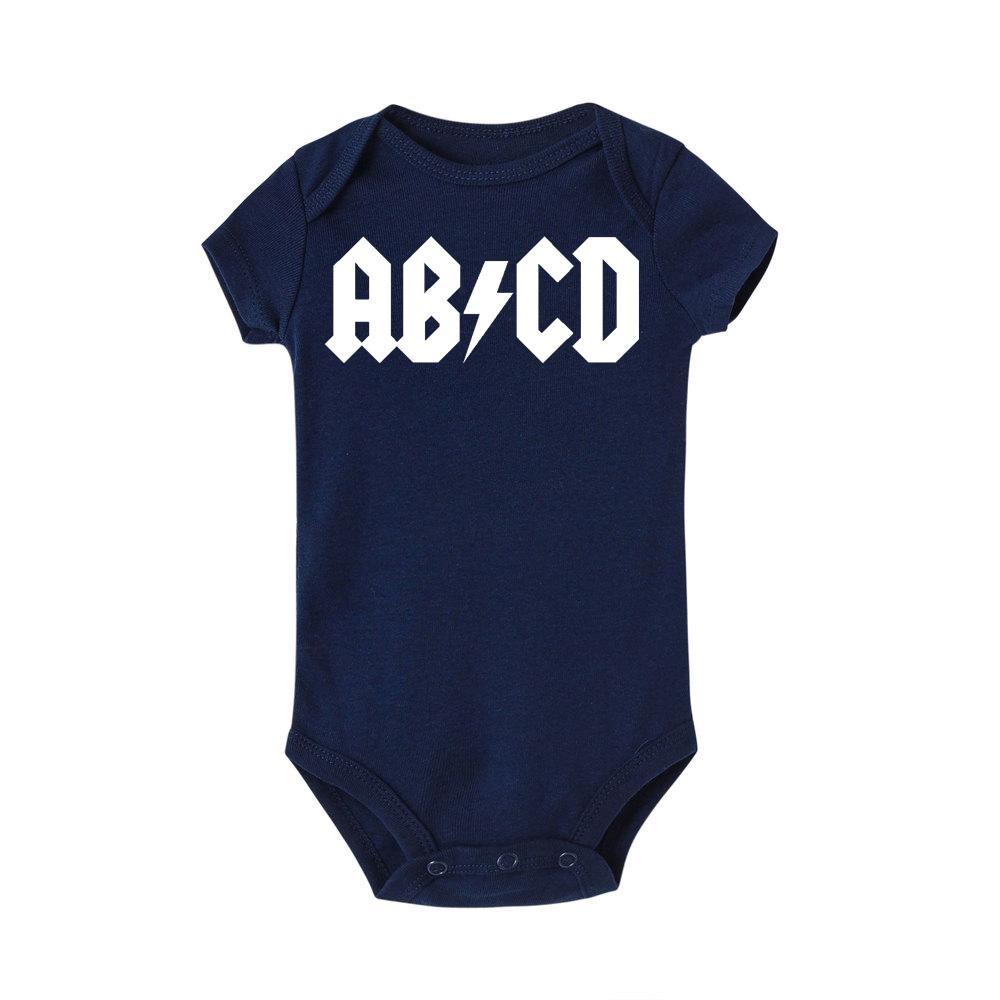 Letra engraçada ABCD Roupa Imprimir infantil Rocha Acdc roupa do bebê recém-nascido Menino Meninas AC DC Romper Macacão Roupa Outfits
