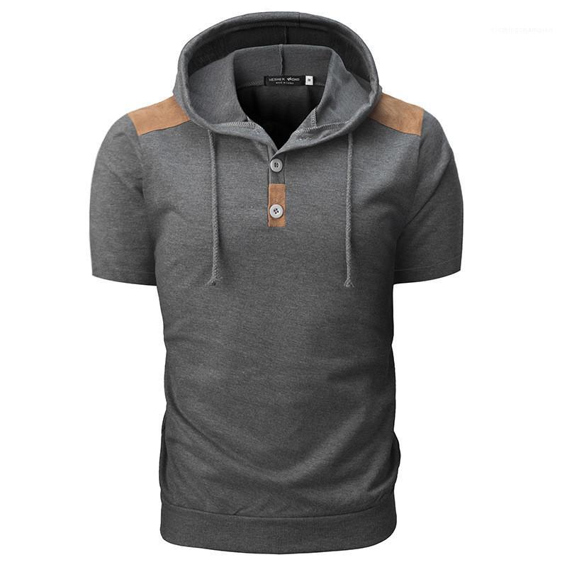 Color de moda corta natural de paneles, camisetas para hombre, camisas para hombre, ropa de diseñador, manga para hombre, con capucha, camisetas, camisetas informales, HHPPD