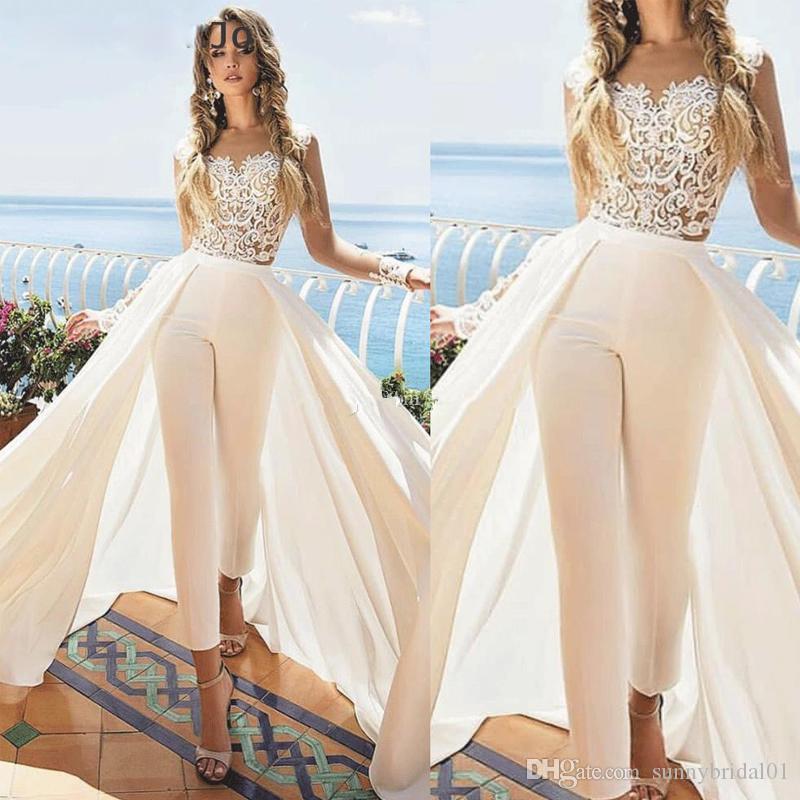Unique Jumpsuit Wedding Dresses with Detachable Train Ankle Length Jewel Neck Appliques Outfit Bridal Dress Satin Overskirt Wedding Gowns